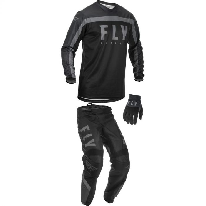 Small//32 Fly Racing 2019 F-16 Jersey and Pants Combo Black//White//Gray Adult Racing Suit Gear Set